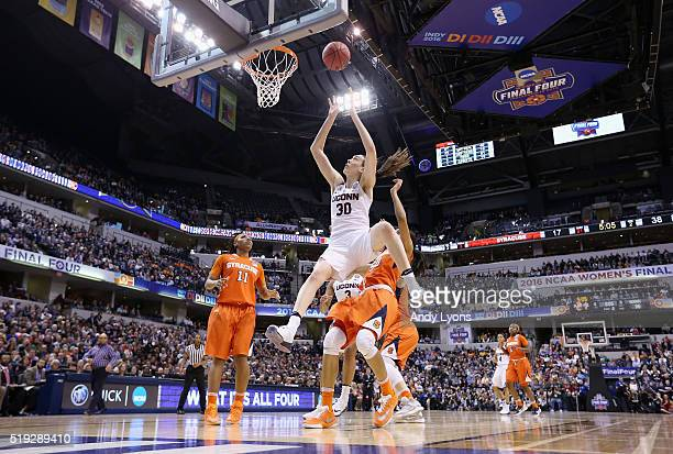 Breanna Stewart of the Connecticut Huskies goes up for a shot against the Syracuse Orange in the second quarter during the championship game of the...