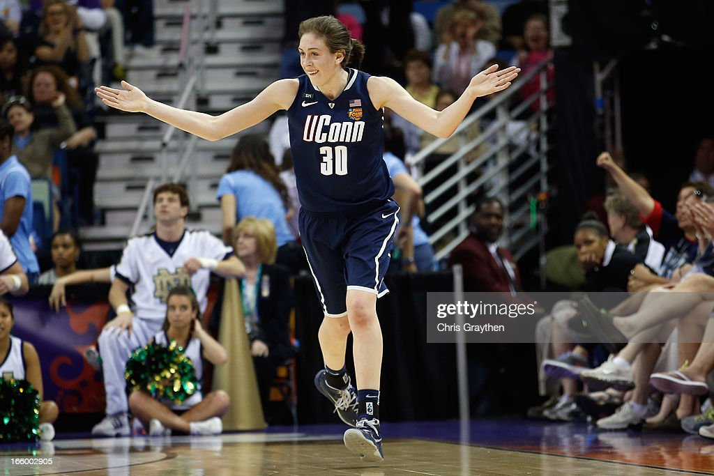 Breanna Stewart #30 of the Connecticut Huskies reacts to a three point shot against the Notre Dame Fighting Irish during the National Semifinal game of the 2013 NCAA Division I Women's Basketball Championship at the New Orleans Arena on April 7, 2013 in New Orleans, Louisiana.