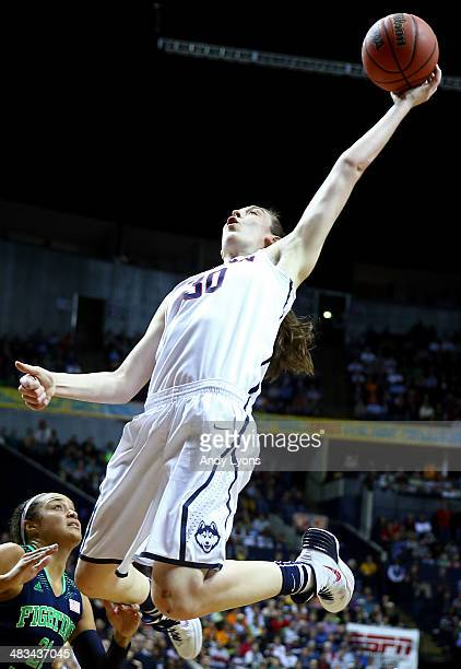 Breanna Stewart of the Connecticut Huskies rebounds against shoots the ball against Kayla McBride of the Notre Dame Fighting Irish during the NCAA...
