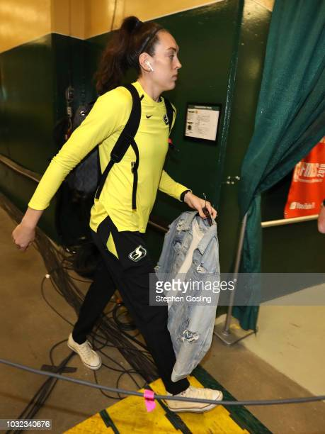 Breanna Stewart of the Seattle Storm arrives before the game against the Washington Mystics in Game Three of the 2018 WNBA Finals on September 12...