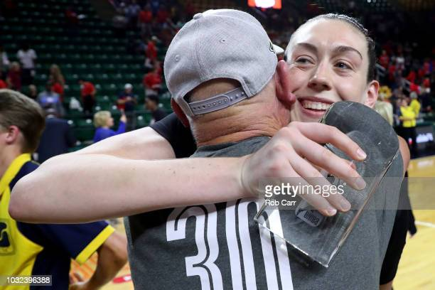 Breanna Stewart of the Seattle Storm celebrates after the Storm defeated the Washington Mystics 9882 to win the WNBA Finals at EagleBank Arena on...