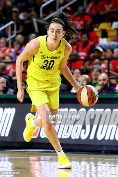 Breanna Stewart of the Seattle Storm dribbles the ball against the Washington Mystics during game three of the WNBA Finals at EagleBank Arena on...
