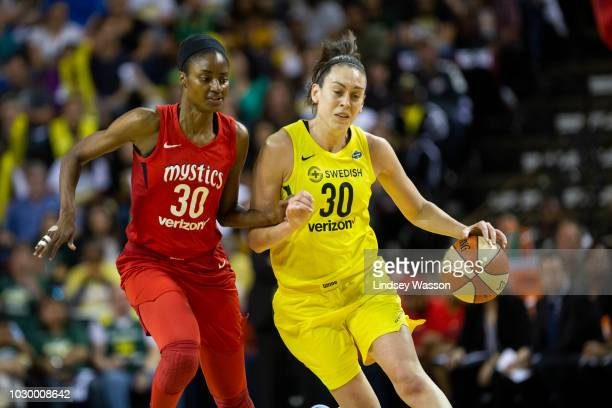 Breanna Stewart of the Seattle Storm drives against LaToya Sanders of the Washington Mystics during the first half of Game 2 of the WNBA Finals at...