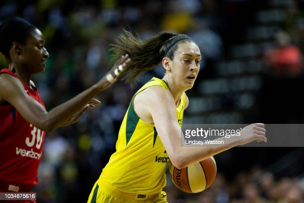 Breanna Stewart of the Seattle Storm drives past LaToya Sanders of the Washington Mystics during the first half of Game 2 of the WNBA Finals at...