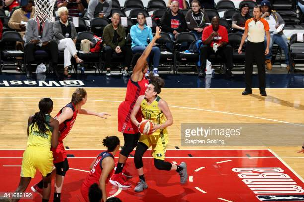 Breanna Stewart of the Seattle Storm drives to the basket during the game against the Washington Mystics during a WNBA game on September 1 2017 at...