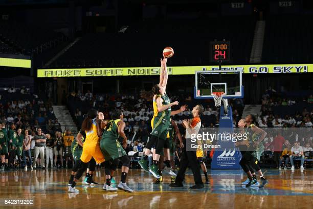 Breanna Stewart of the Seattle Storm goes for the tip off against the Chicago Sky on September 3 2017 at Allstate Arena in Rosemont IL NOTE TO USER...