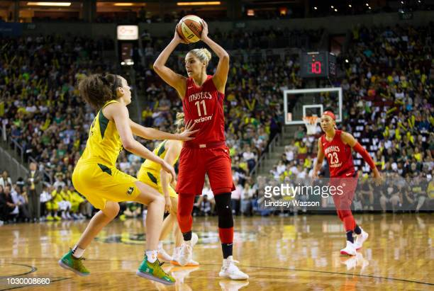 Breanna Stewart of the Seattle Storm guards against Elena Delle Donne of the Washington Mystics during the first half of Game 2 of the WNBA Finals at...