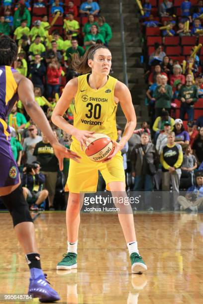 Breanna Stewart of the Seattle Storm handles the ball against the Los Angeles Sparks on July 10 2018 at Key Arena in Seattle Washington NOTE TO USER...