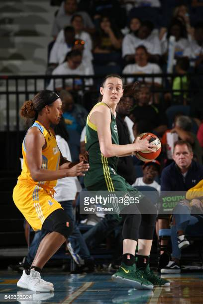 Breanna Stewart of the Seattle Storm handles the ball against the Chicago Sky on September 3 2017 at Allstate Arena in Rosemont IL NOTE TO USER User...