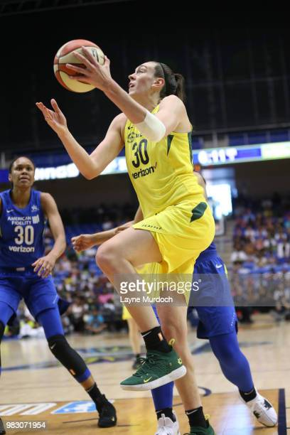 Breanna Stewart of the Seattle Storm handles the ball against the Dallas Wings on June 24 2018 at College Park Center in Arlington Texas NOTE TO USER...