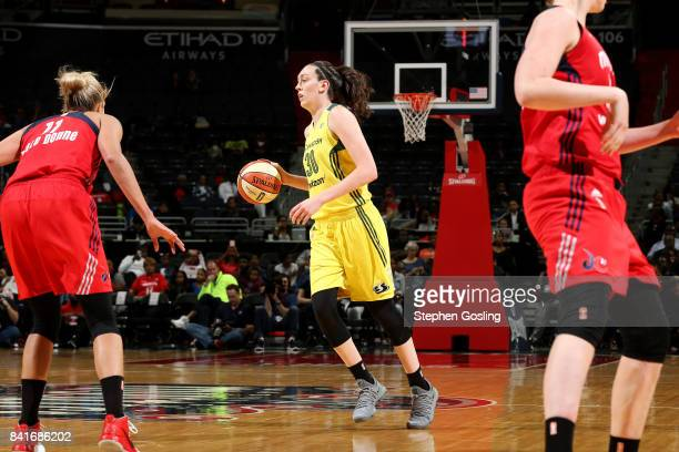 Breanna Stewart of the Seattle Storm handles the ball during the game against the Washington Mystics during a WNBA game on September 1 2017 at the...