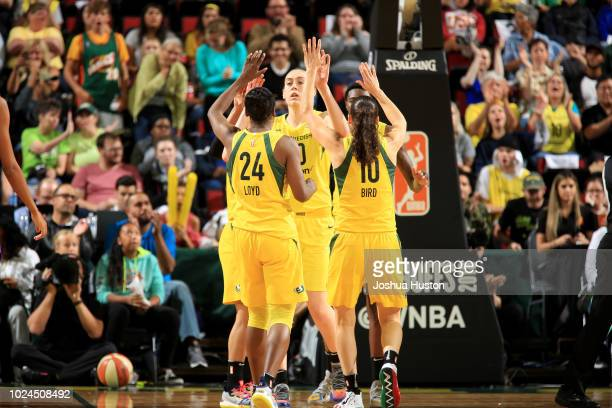 Breanna Stewart of the Seattle Storm highfives teammates during the game against the Phoenix Mercury during Game One of the 2018 WNBA Semifinals on...