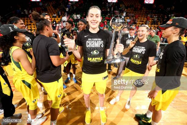 Breanna Stewart of the Seattle Storm holds the 2018 Most Valuable Player Award and 2018 WNBA Finals Championship Trophy after winning the 2018 WNBA...