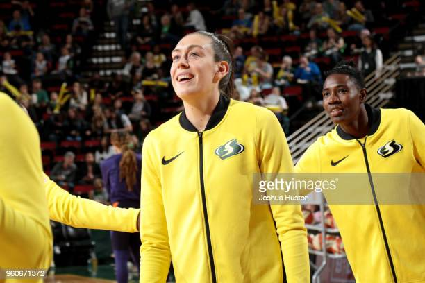 Breanna Stewart of the Seattle Storm is introduced before the game against the Phoenix Mercury on MAY 20 2018 at KeyArena in Seattle Washington NOTE...