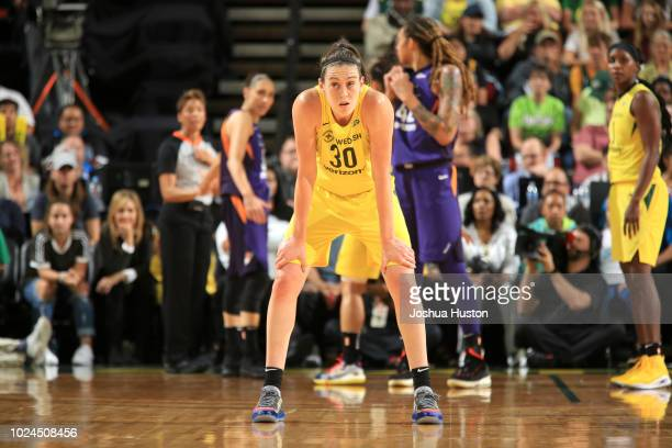 Breanna Stewart of the Seattle Storm looks on during the game against the Phoenix Mercury during Game One of the 2018 WNBA Semifinals on August 26...