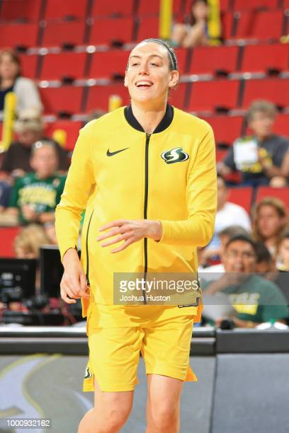Breanna Stewart of the Seattle Storm looks on during warm ups prior to the game against the Dallas Wings on July 14 2018 at Key Arena in Seattle...
