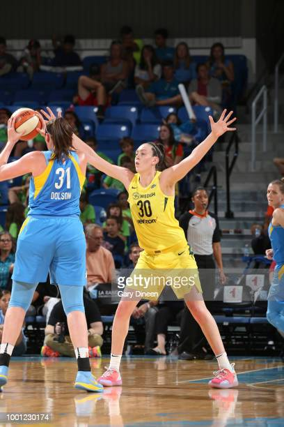 Breanna Stewart of the Seattle Storm plays defense against the Chicago Sky on July 18 2018 at the Wintrust Arena in Chicago Illinois NOTE TO USER...