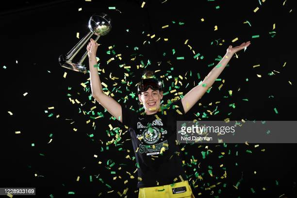 Breanna Stewart of the Seattle Storm poses for a portrait with the WNBA Championship Trophy after winning Game 3 of the 2020 WNBA Finals against the...