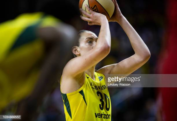 Breanna Stewart of the Seattle Storm prepares to make a free throw against the Washington Mystics during the first half of Game 2 of the WNBA Finals...