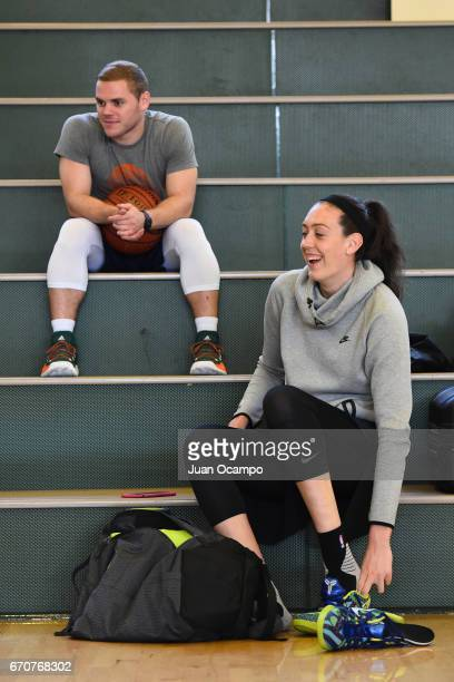 Breanna Stewart of the Seattle Storm puts on shoes before she works out on April 19 2017 in Santa Monica California at Santa Monica High School NOTE...