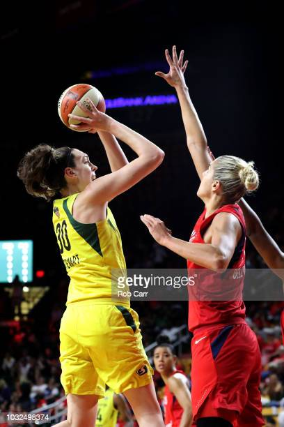 Breanna Stewart of the Seattle Storm puts up a shot in front of Elena Delle Donne of the Washington Mystics during the first half of game three of...
