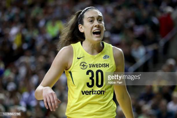 Breanna Stewart of the Seattle Storm reacts against the Washington Mystics in the first quarter during game one of the WNBA Finals at KeyArena on...
