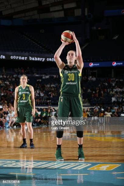 Breanna Stewart of the Seattle Storm shoots a free throw against the Chicago Sky on September 3 2017 at Allstate Arena in Rosemont IL NOTE TO USER...