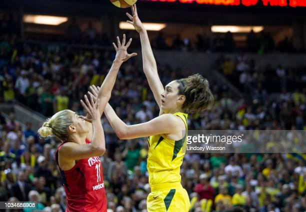 Breanna Stewart of the Seattle Storm shoots over Elena Delle Donne of the Washington Mystics during the second half of Game 2 of the WNBA Finals at...