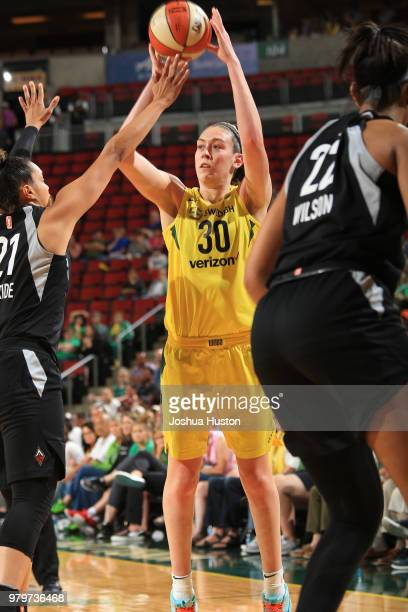 Breanna Stewart of the Seattle Storm shoots the ball against the Las Vegas Aces on June 19 2018 at KeyArena in Seattle Washington NOTE TO USER User...