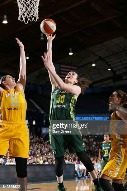 Breanna Stewart of the Seattle Storm shoots the ball against the Chicago Sky on September 3 2017 at Allstate Arena in Rosemont IL NOTE TO USER User...