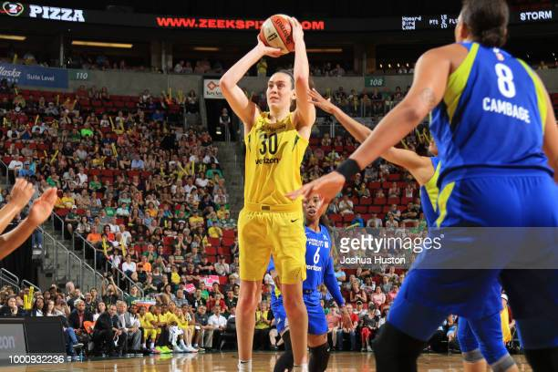 Breanna Stewart of the Seattle Storm shoots the ball during the game against the Dallas Wings on July 14 2018 at Key Arena in Seattle Washington NOTE...