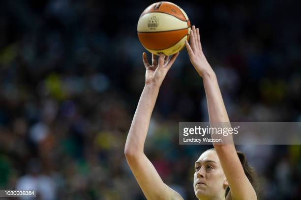 Breanna Stewart of the Seattle Storm sinks a free throw late in the fourth quarter against the Washington Mystics during Game 2 of the WNBA Finals at...