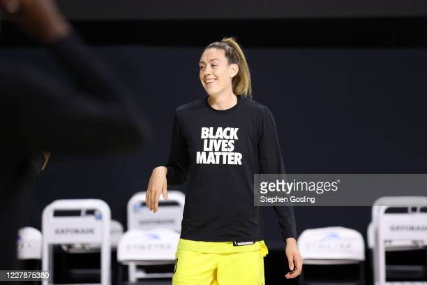 Breanna Stewart of the Seattle Storm smiles during the game against the Los Angeles Sparks on August 1, 2020 at Feld Entertainment Center in...