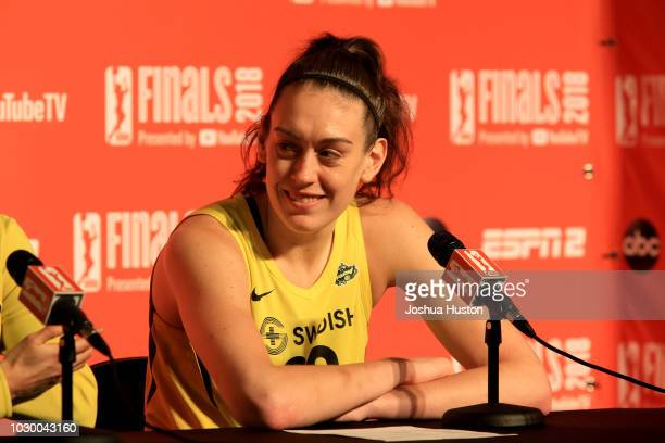 Breanna Stewart of the Seattle Storm talks to the media at the post game interview after the game against the Washington Mystics during Game Two of...