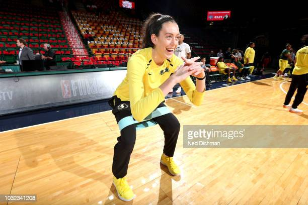 Breanna Stewart of the Seattle Storm warms up before the game against the Washington Mystics during Game Three of the 2018 WNBA Finals on September...