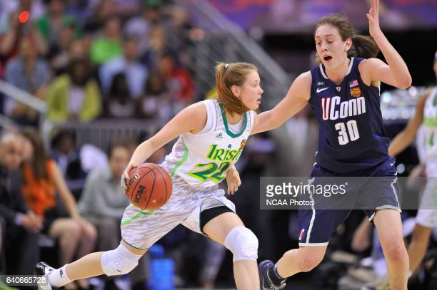 Breanna Stewart of UCONN and Madison Cable battle for the ball during the Division I Women's Basketball Championship held at the New Orleans Arena in...
