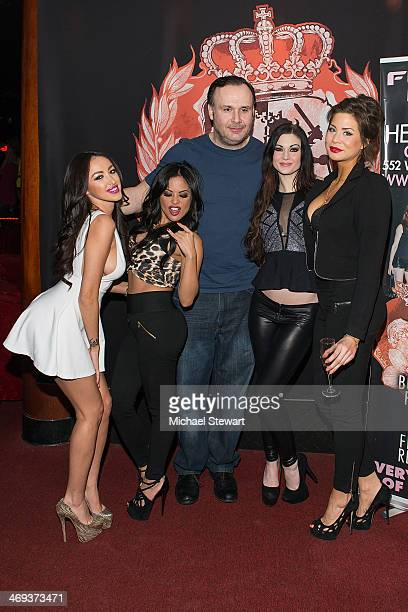 Breanne Benson, Kaylani Lei, Big John, Kendall Karson and a guest attend Big John's Birthday Celebration at Headquarters on February 13, 2014 in New...