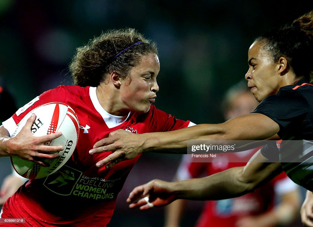 Breanne Nicholas of Canada in action during day one of the Emirates Dubai Rugby Sevens - HSBC World Rugby Women's Sevens Series on December 1, 2016 in Dubai, United Arab Emirates.