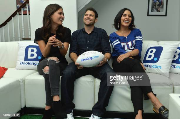 Breanne Racano Jerry Ferrara and Vanessa Hudgens attend gameday kickoff at the Bookingcom Football House on September 10 2017 in Jersey City New...