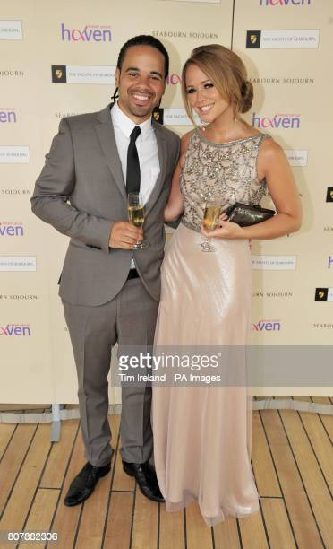 Breast Cancer Haven ambassador and popstar Kimberley Walsh with her boyfriend Justin Scott former Triple 8 band member on board the luxury yacht...