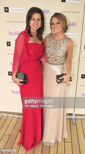 Breast Cancer Haven ambassador and popstar Kimberley Walsh with charity founder Sara Davenport on board the luxury yacht Seabourn Sojourn in London...