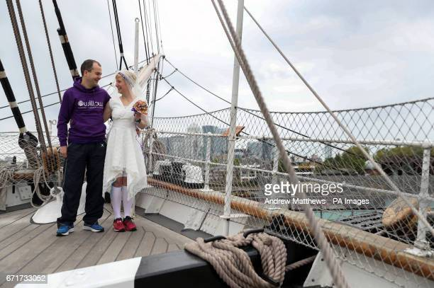 Breast cancer survivor Jackie Scully and her new husband Duncan Sloan on the The Cutty Sark where they got married before taking part in the 2017...
