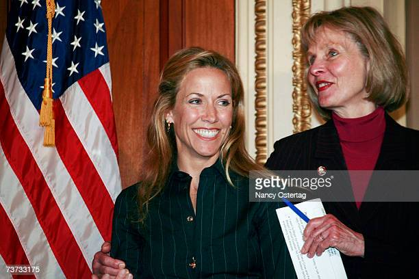 Breast Cancer survivor Sheryl Crow and Representative Lois Capps attend the National Breast Cancer Coalition press conference at The Capitol on March...