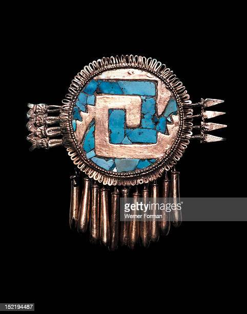 Breastplate in the form of a shield chimalli pierced by a group of arrows Mexico Mixtec work for Aztecs Postclassic Monte Alban V Yanhuitlan Oaxaca