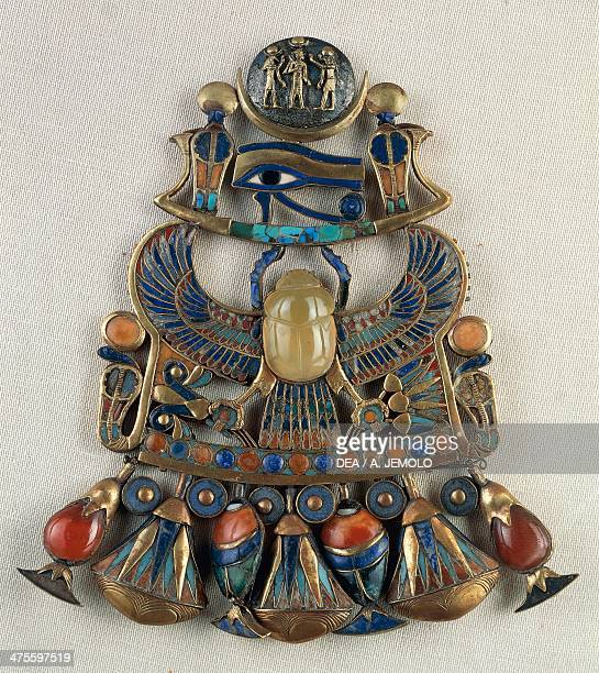 Breastplate with solar and lunar emblems from the Tomb of Tutankhamun Thebes Egypt Goldsmith art Egyptian civilisation New Kingdom Dynasty XVIII...