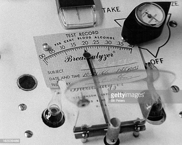 NOV 19 1966 NOV 20 1966 Breathalyzer dial shows content of 18 percent alcohol in suspect's blood The Breathalyzer test isn't as accurate as the...