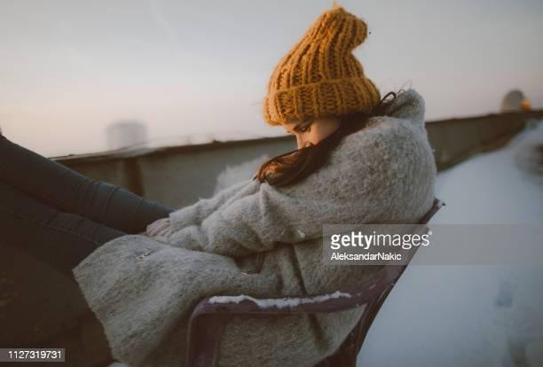 呼吸 - 防寒着 ストックフォトと画像