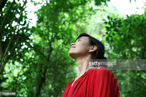 Breathing Fresh Air And Listening Bird Sound - XXXLarge