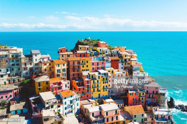 breathtaking cinque terre village, manarola, italy - coastline stock photos and pictures
