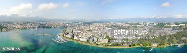 breathtaking high angle panorama of geneva - meer van genève stockfoto's en -beelden